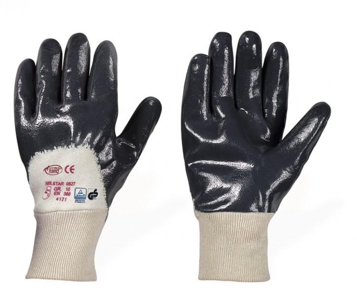 Nitrilbeschichtete Baumwollhandschuhe NITRILSTAR grau/blau