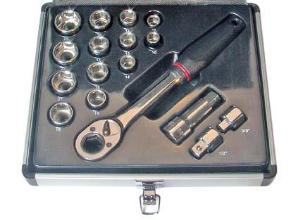 Durchsteck-Steckschlüsselsatz, 16-tlg.