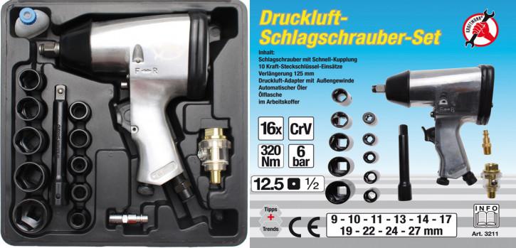 Druckluft-Schlagschraubersatz, 12,5 (1/2), 320 Nm, 16-tlg.