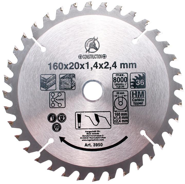Hartmetall-Kreissägeblatt, Durchmesser 160 mm, 36 Zähne Ø 30 mm