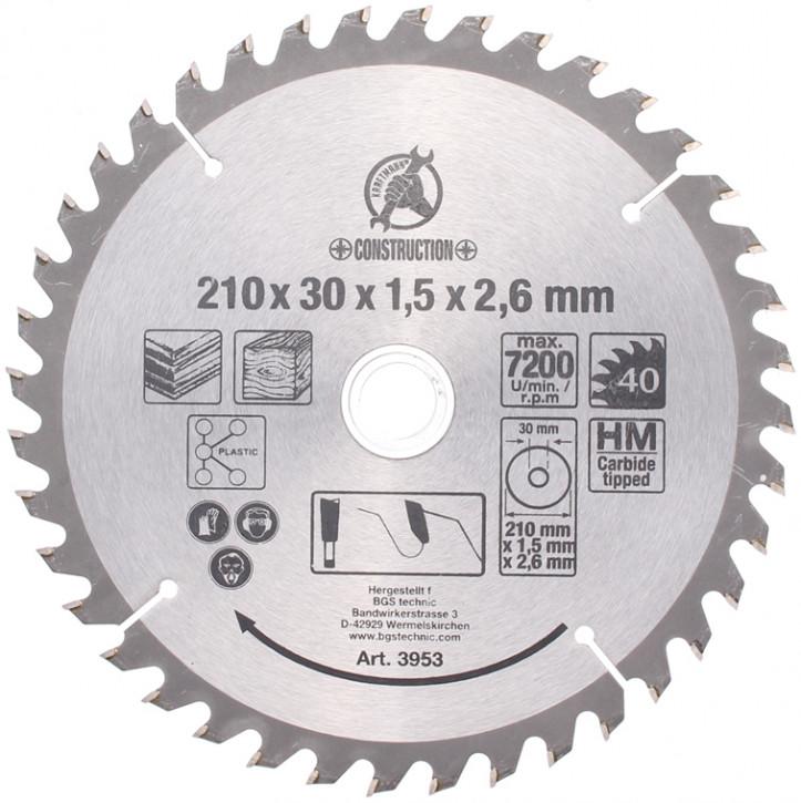 Hartmetall-Kreissägeblatt, Durchmesser 210 mm, 24 Zähne Ø 30 mm