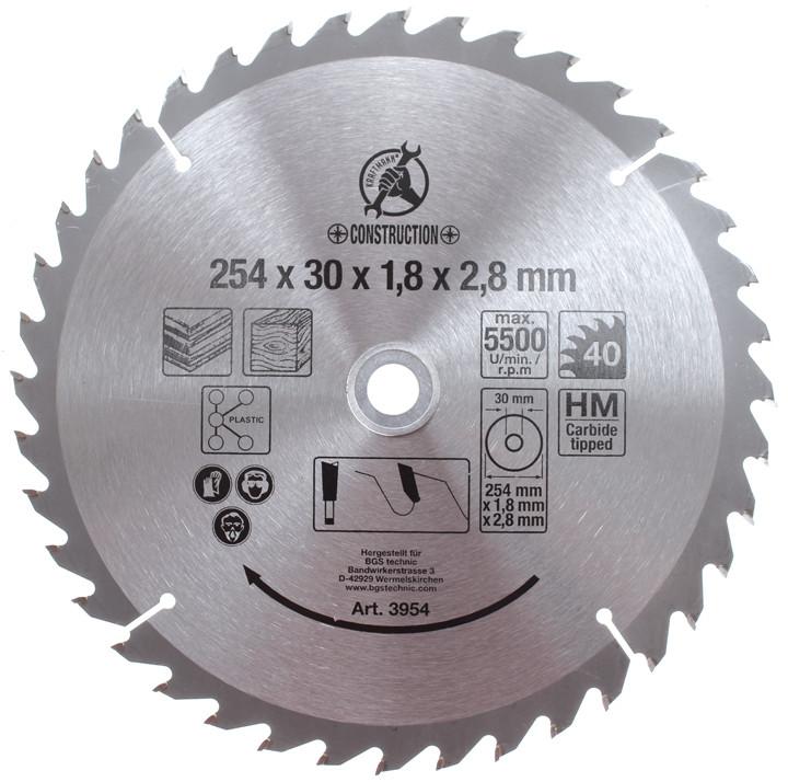 Hartmetall-Kreissägeblatt, Durchmesser 254 mm, 40 Zähne Ø 30 mm