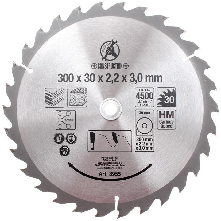 Hartmetall-Kreissägeblatt, Durchmesser 300 mm, 30 Zähne Ø 30 mm