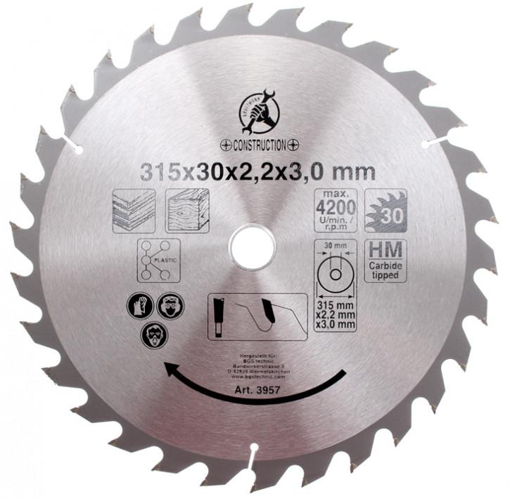 Hartmetall-Kreissägeblatt, Durchmesser 315 mm, 30 Zähne Ø 30 mm