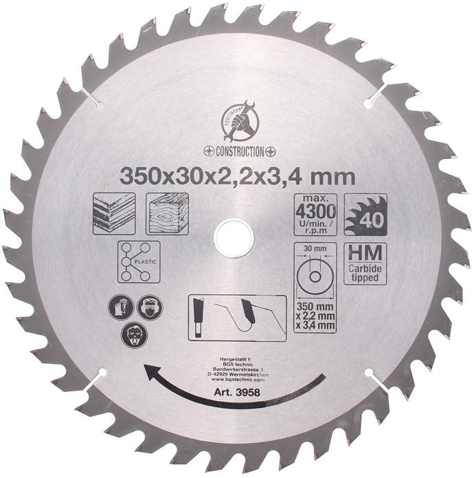 Hartmetall-Kreissägeblatt, Durchmesser 350 mm, 40 Zähne Ø 30 mm
