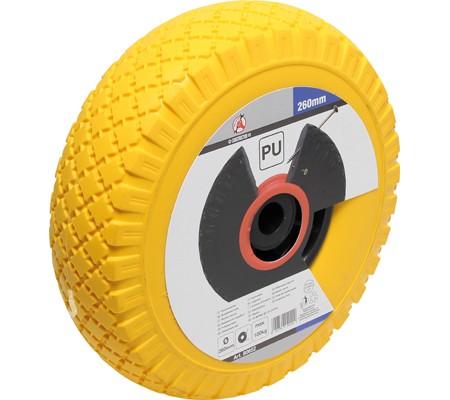 PU-Rad für Sackkarre / Bollerwagen, gelb/schwarz, 260 mm