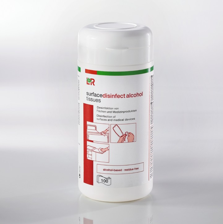 L+R surfacedisinfect alcohol tissues Tücher 22,5x13,8cm
