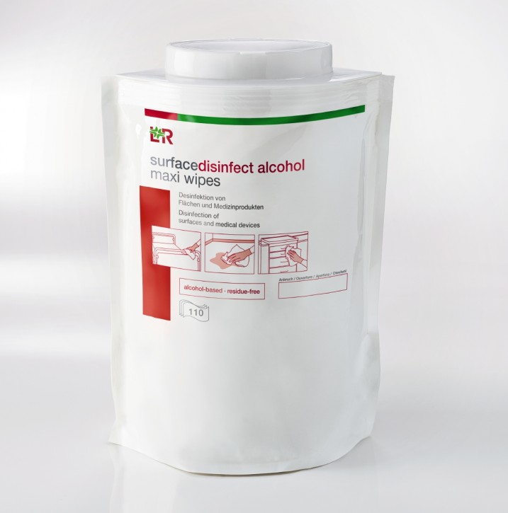 L+R surfacedisinfect alcohol maxi wipes 110 Stück