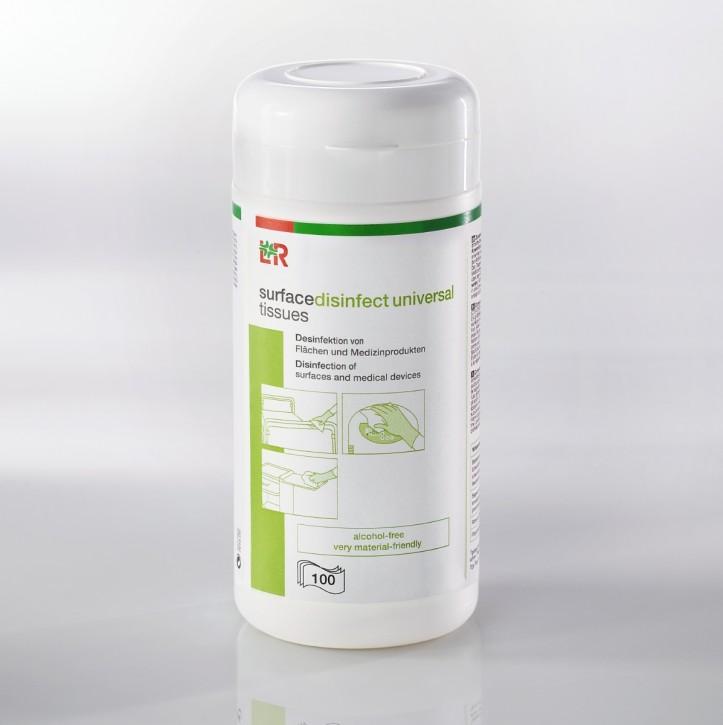 L+R surfacedisinfect universal tissues Tücher 22,5x13,8cm