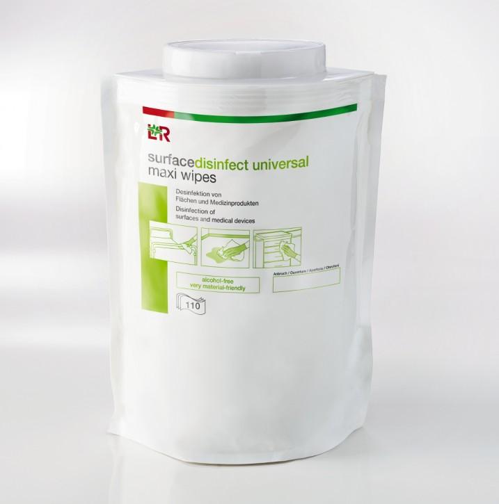 L+R surfacedisinfect universal maxi wipes Tücher 38x20cm