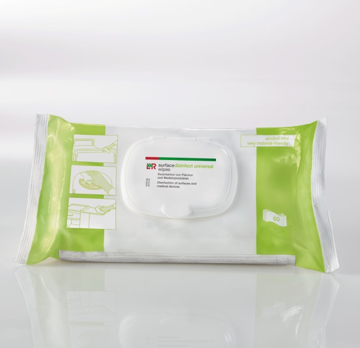 L+R surfacedisinfect universal wipes Tücher 20x18cm