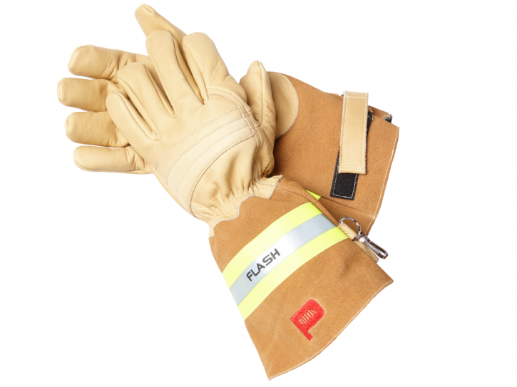FLASH PREMIUM (long) Feuerwehrhandschuh aus braunem Rindleder