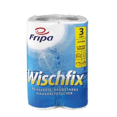 Fripa Wischfix Tissue-Haushaltst. 2 Rll.a 51 Bl 26x24cm 3-lg.,weiß
