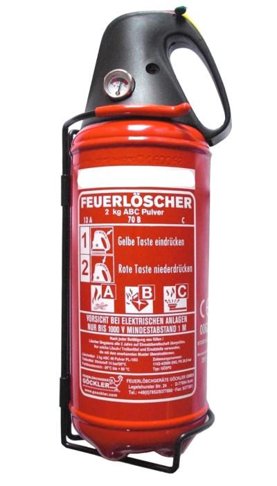 Kfz-Pulverfeuerlöscher Göckler 2KG  Rating: 13 A, 70 B, C = 4 LE