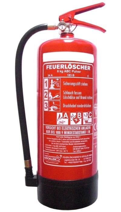 Pulverdauerdruck-Feuerlöscher Göckler GÖ6LZ 6 kg 10 LE