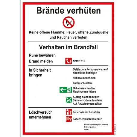 """Aushang-Schild """"Brandschutzordnung"""" DIN 14096 PVC Schild"""