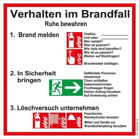 """Aushang-Schild """"Verhalten im Brandfall"""" PVC Schild"""