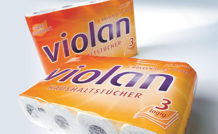 Fripa Violan Küchenrollen hochweiß 4 Rll. à 45 Bl. 23x21,5cm, 3-lg.