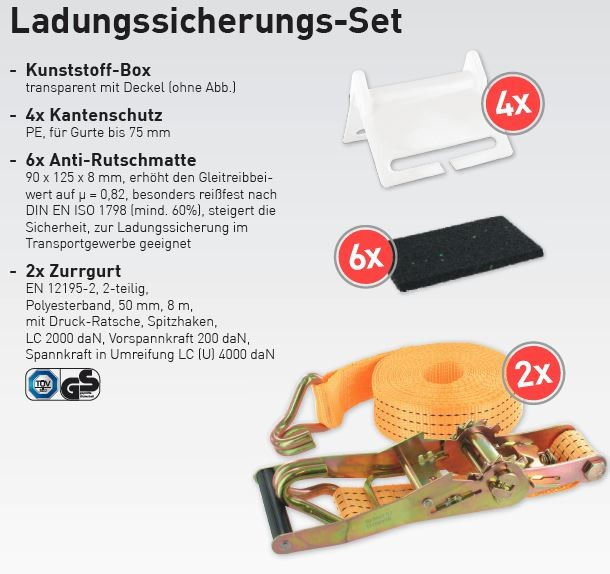 Ladungssicherungs-Set 13 teilig.